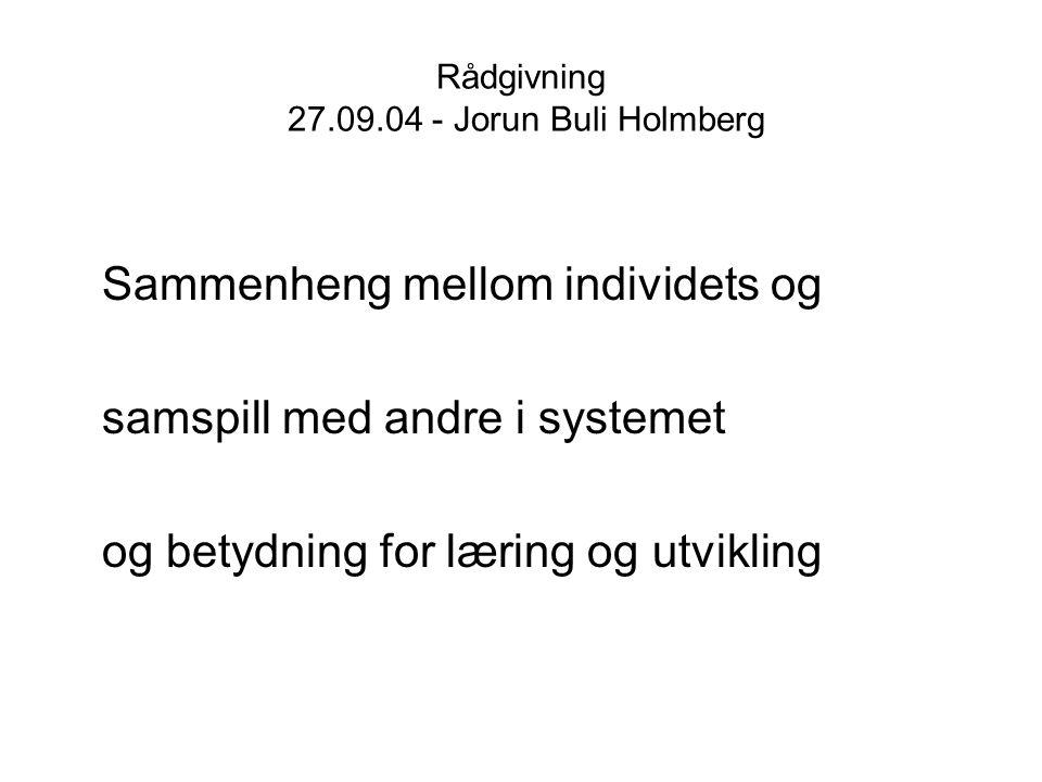 Rådgivning 27.09.04 - Jorun Buli Holmberg 1 Samspill som er negativt for en selv 2 Samspill som er negativt for omgivelsene --------------------------------------------------------- 3 Samspill som er positivt for en selv 4 Samspill som er positivt for omgivelsene (Holmberg 1997)