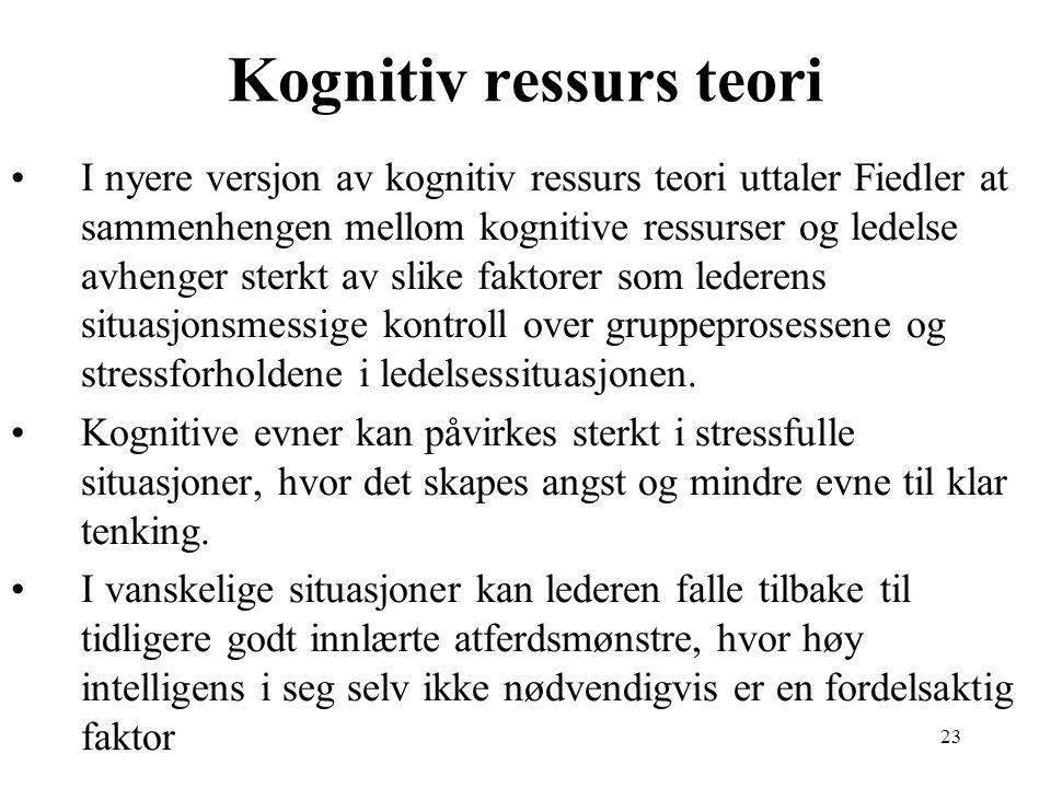 23 Kognitiv ressurs teori I nyere versjon av kognitiv ressurs teori uttaler Fiedler at sammenhengen mellom kognitive ressurser og ledelse avhenger ste