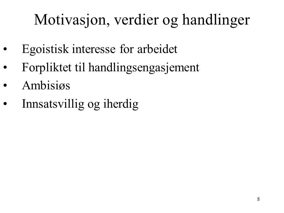 8 Motivasjon, verdier og handlinger Egoistisk interesse for arbeidet Forpliktet til handlingsengasjement Ambisiøs Innsatsvillig og iherdig