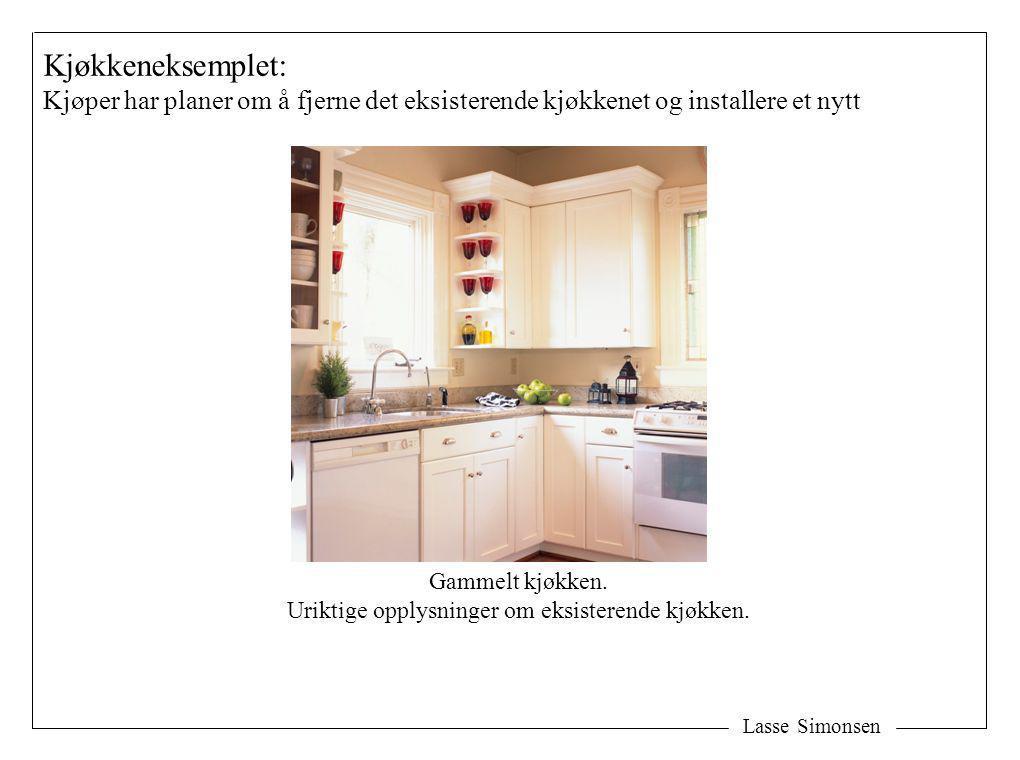 Lasse Simonsen Kjøkkeneksemplet: Kjøper har planer om å fjerne det eksisterende kjøkkenet og installere et nytt Gammelt kjøkken. Uriktige opplysninger