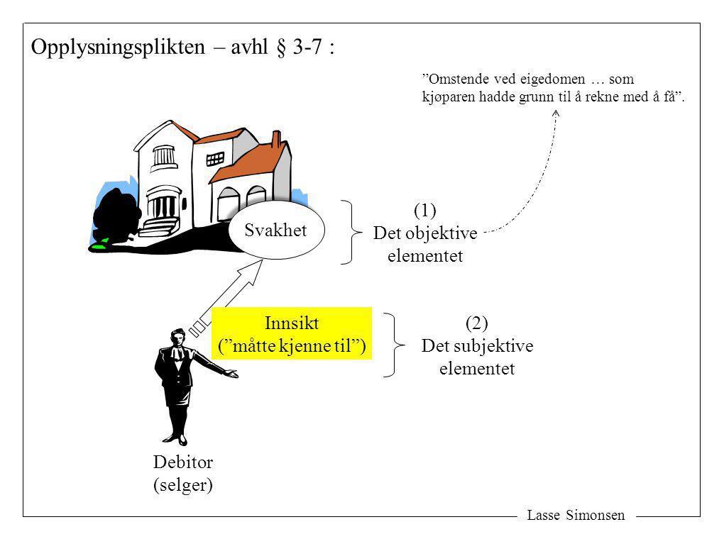 """Lasse Simonsen Debitor (selger) Opplysningsplikten – avhl § 3-7 : Svakhet Innsikt (""""måtte kjenne til"""") (2) Det subjektive elementet (1) Det objektive"""