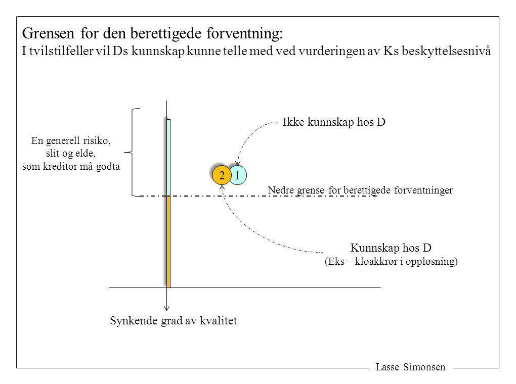 Lasse Simonsen Grensen for den berettigede forventning: I tvilstilfeller vil Ds kunnskap kunne telle med ved vurderingen av Ks beskyttelsesnivå 1 1 Ne