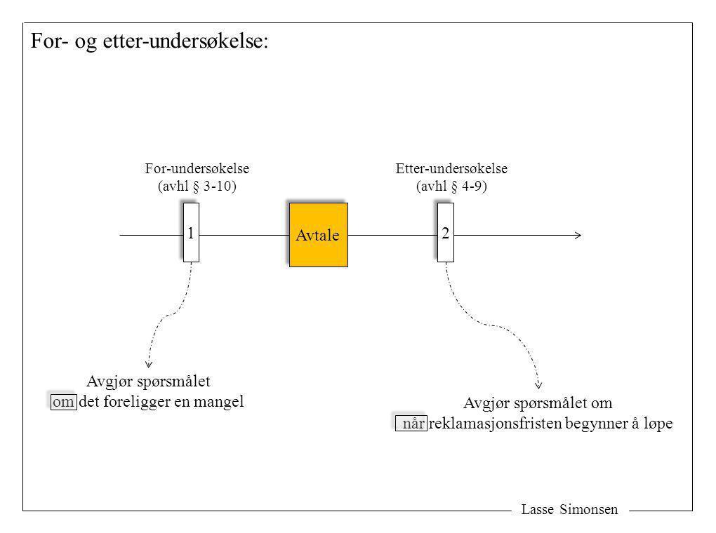 Lasse Simonsen For- og etter-undersøkelse: Avtale 1 1 For-undersøkelse (avhl § 3-10) Avgjør spørsmålet om det foreligger en mangel 2 2 Etter-undersøke
