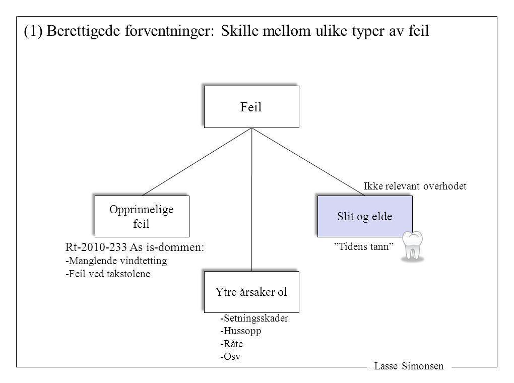 """Lasse Simonsen (1) Berettigede forventninger: Skille mellom ulike typer av feil Feil Slit og elde """"Tidens tann"""" Ikke relevant overhodet Opprinnelige f"""