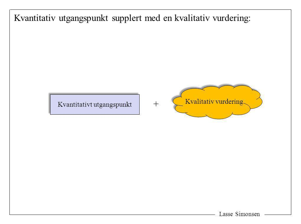 Lasse Simonsen Kvantitativ utgangspunkt supplert med en kvalitativ vurdering: Kvantitativt utgangspunkt Kvalitativ vurdering +