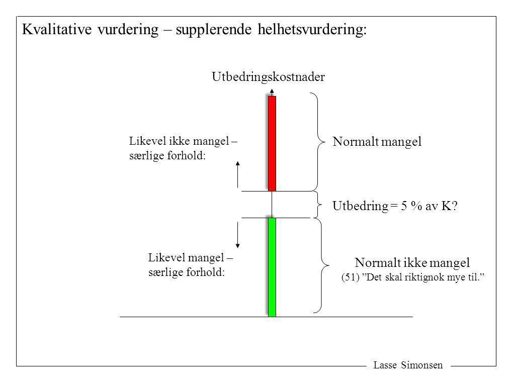 Lasse Simonsen Kvalitative vurdering – supplerende helhetsvurdering: Utbedringskostnader Utbedring = 5 % av K? Likevel ikke mangel – særlige forhold: