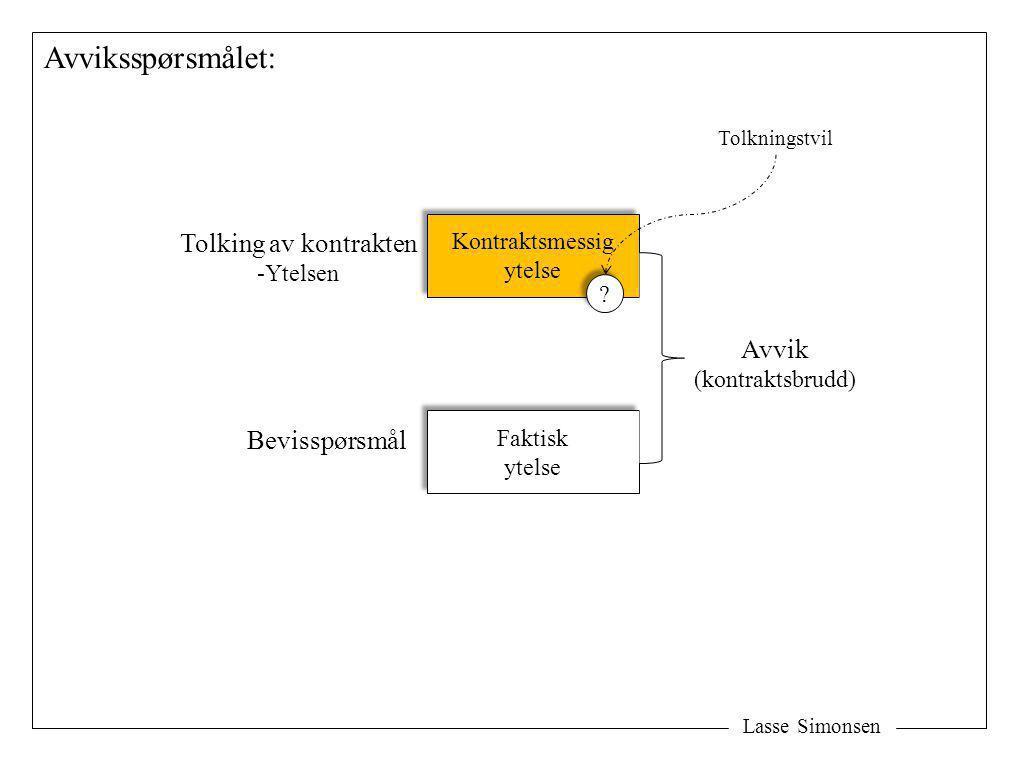 Lasse Simonsen Avviksspørsmålet: Kontraktsmessig ytelse Kontraktsmessig ytelse Faktisk ytelse Faktisk ytelse Avvik (kontraktsbrudd) Tolking av kontrak