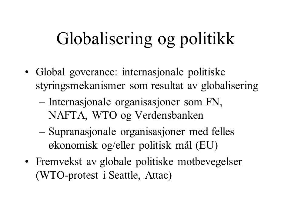 Globalisering og politikk Global goverance: internasjonale politiske styringsmekanismer som resultat av globalisering –Internasjonale organisasjoner s