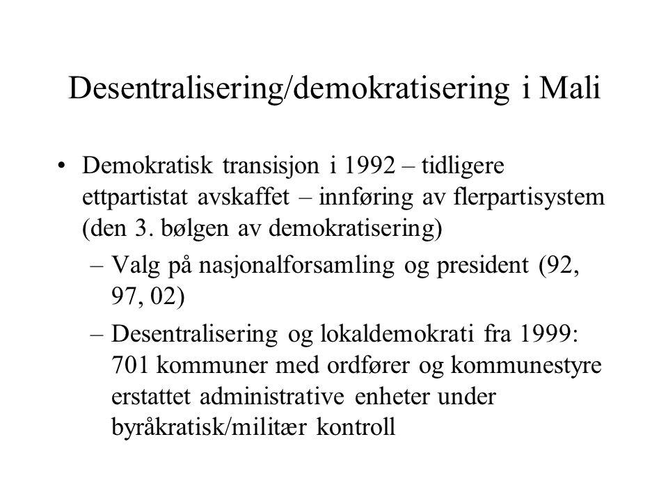 Desentralisering/demokratisering i Mali Demokratisk transisjon i 1992 – tidligere ettpartistat avskaffet – innføring av flerpartisystem (den 3. bølgen
