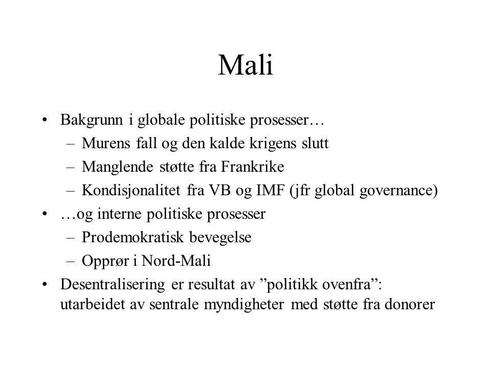 Mali Bakgrunn i globale politiske prosesser… –Murens fall og den kalde krigens slutt –Manglende støtte fra Frankrike –Kondisjonalitet fra VB og IMF (j