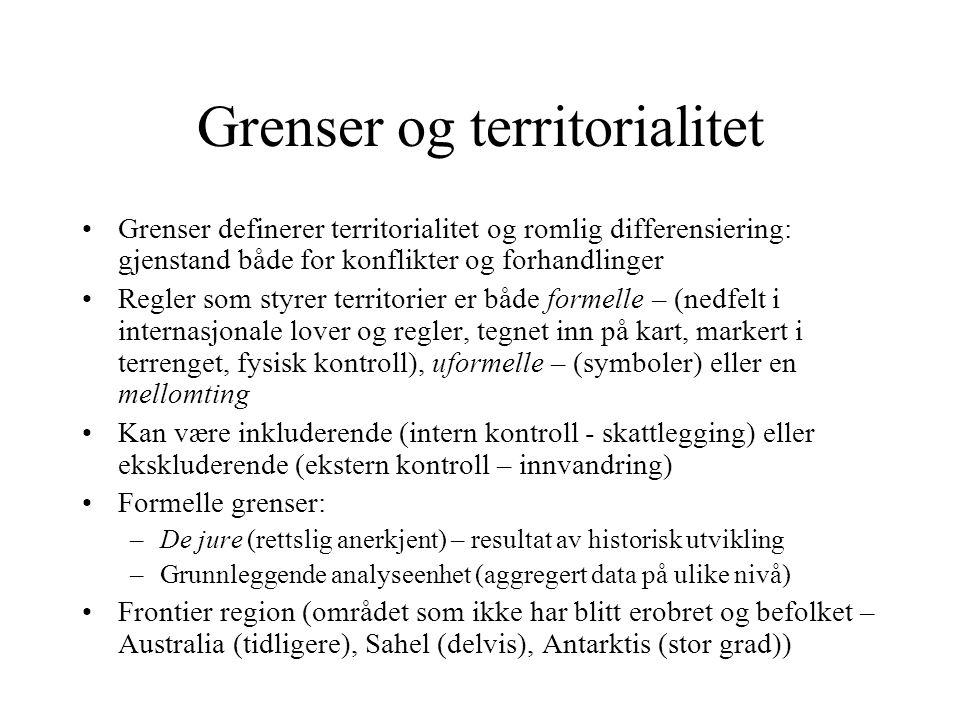 Grenser og territorialitet Grenser definerer territorialitet og romlig differensiering: gjenstand både for konflikter og forhandlinger Regler som styr