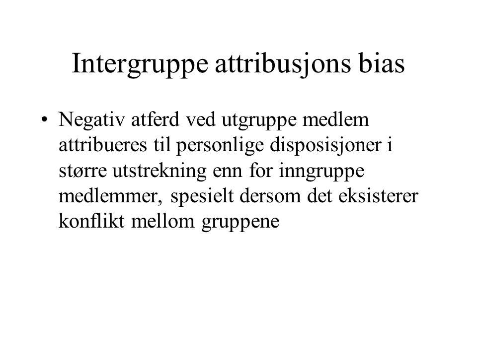 Intergruppe attribusjons bias Negativ atferd ved utgruppe medlem attribueres til personlige disposisjoner i større utstrekning enn for inngruppe medlemmer, spesielt dersom det eksisterer konflikt mellom gruppene