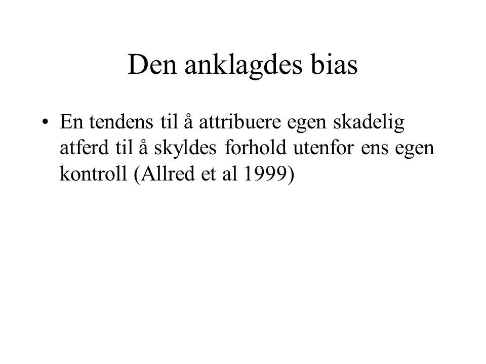 Den anklagdes bias En tendens til å attribuere egen skadelig atferd til å skyldes forhold utenfor ens egen kontroll (Allred et al 1999)