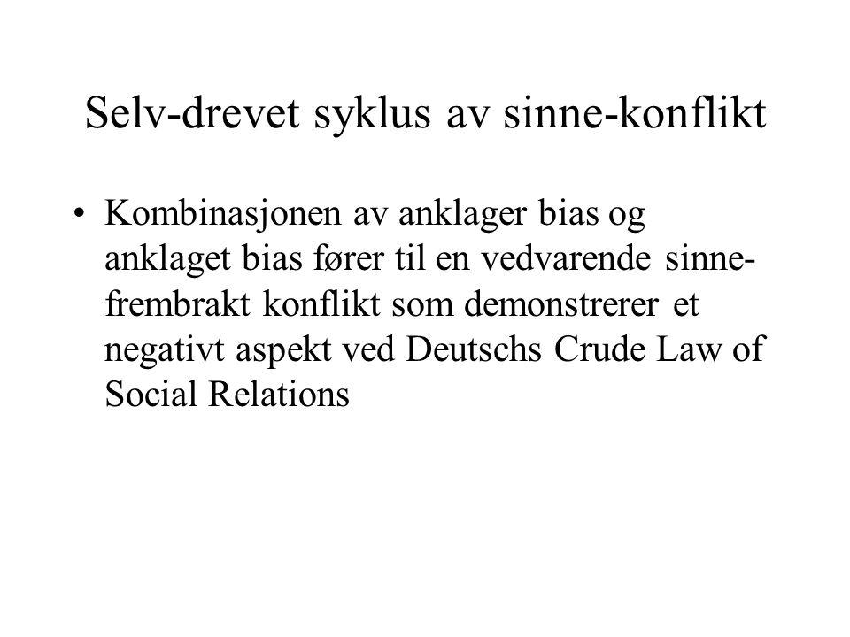 Selv-drevet syklus av sinne-konflikt Kombinasjonen av anklager bias og anklaget bias fører til en vedvarende sinne- frembrakt konflikt som demonstrerer et negativt aspekt ved Deutschs Crude Law of Social Relations