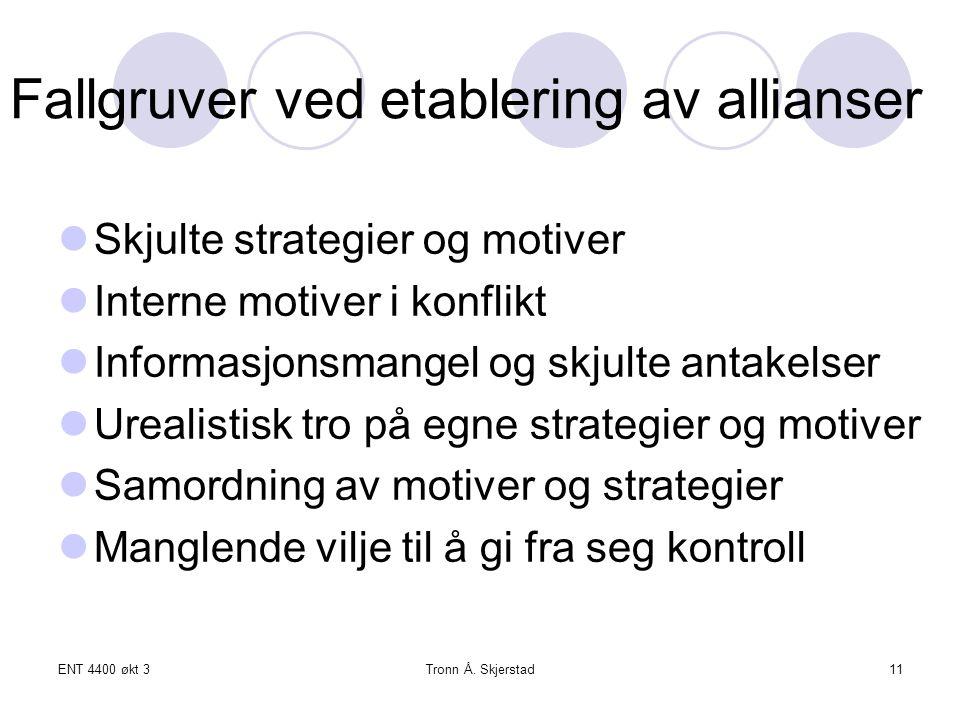 ENT 4400 økt 3Tronn Å. Skjerstad11 Fallgruver ved etablering av allianser Skjulte strategier og motiver Interne motiver i konflikt Informasjonsmangel