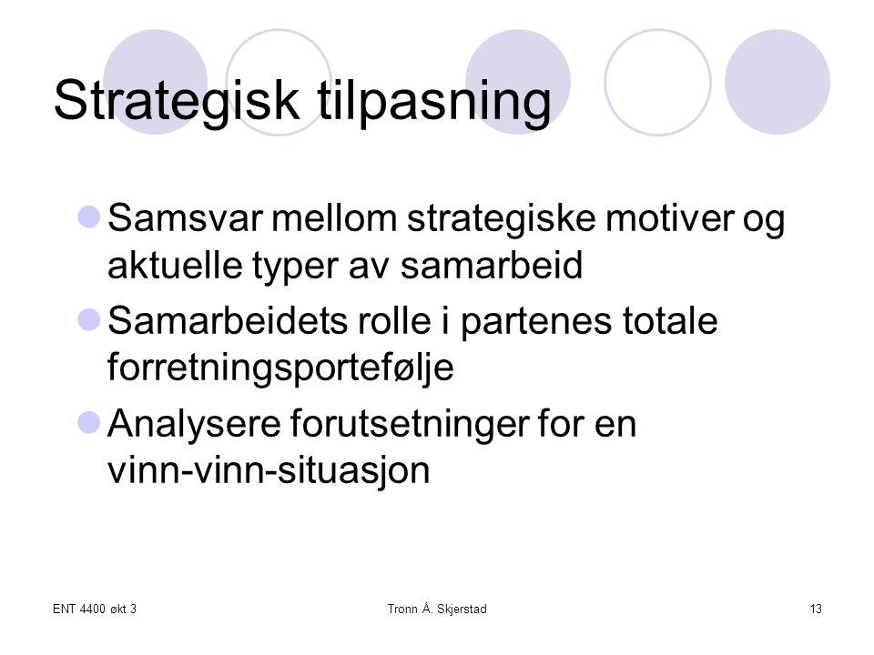 ENT 4400 økt 3Tronn Å. Skjerstad13 Strategisk tilpasning Samsvar mellom strategiske motiver og aktuelle typer av samarbeid Samarbeidets rolle i parten