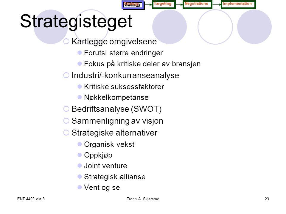 ENT 4400 økt 3Tronn Å. Skjerstad23 Strategisteget  Kartlegge omgivelsene Forutsi større endringer Fokus på kritiske deler av bransjen  Industri/-kon