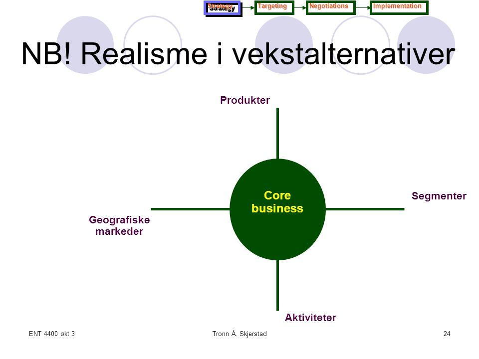 ENT 4400 økt 3Tronn Å. Skjerstad24 Segmenter Geografiske markeder Produkter Aktiviteter Core business NB! Realisme i vekstalternativer StrategyStrateg