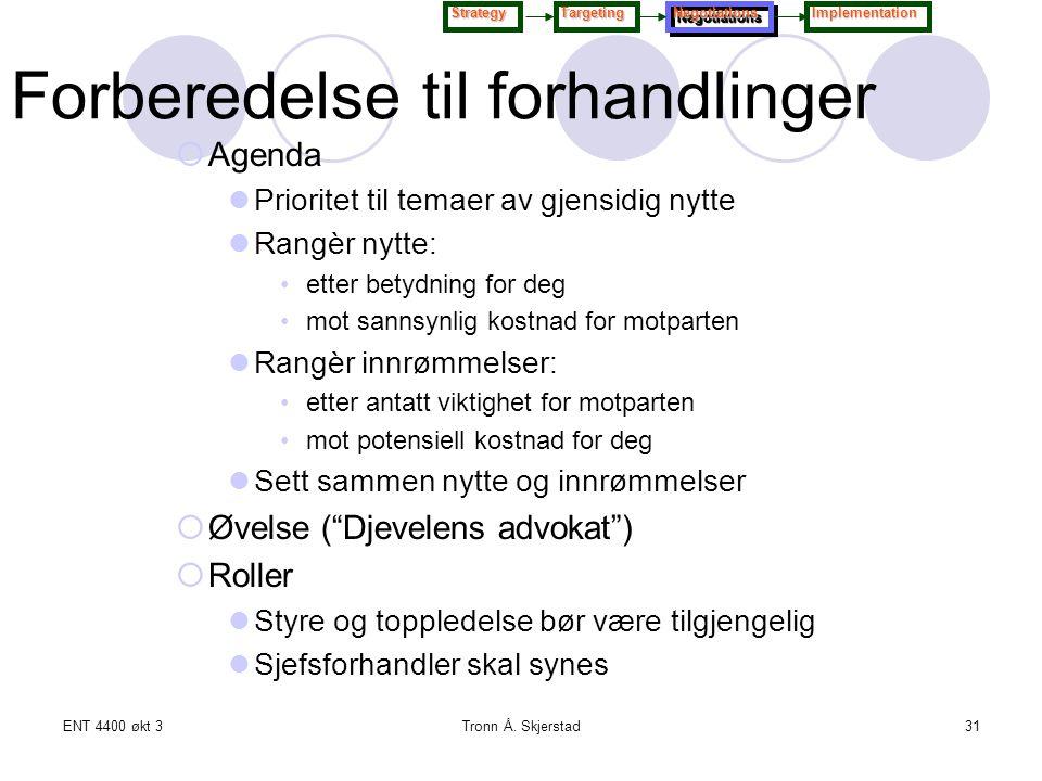 ENT 4400 økt 3Tronn Å. Skjerstad31  Agenda Prioritet til temaer av gjensidig nytte Rangèr nytte: etter betydning for deg mot sannsynlig kostnad for m