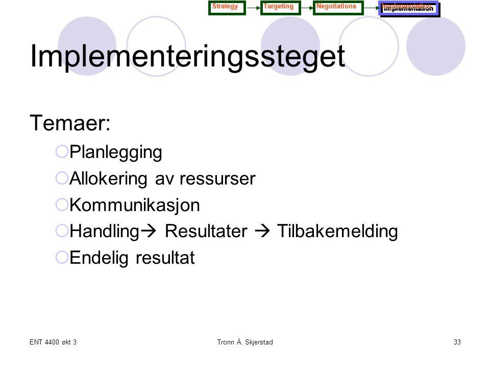 ENT 4400 økt 3Tronn Å. Skjerstad33 Temaer:  Planlegging  Allokering av ressurser  Kommunikasjon  Handling  Resultater  Tilbakemelding  Endelig