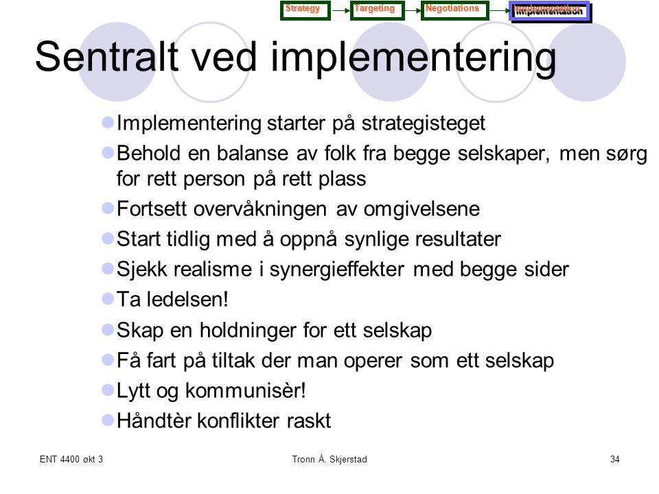 ENT 4400 økt 3Tronn Å. Skjerstad34 Implementering starter på strategisteget Behold en balanse av folk fra begge selskaper, men sørg for rett person på