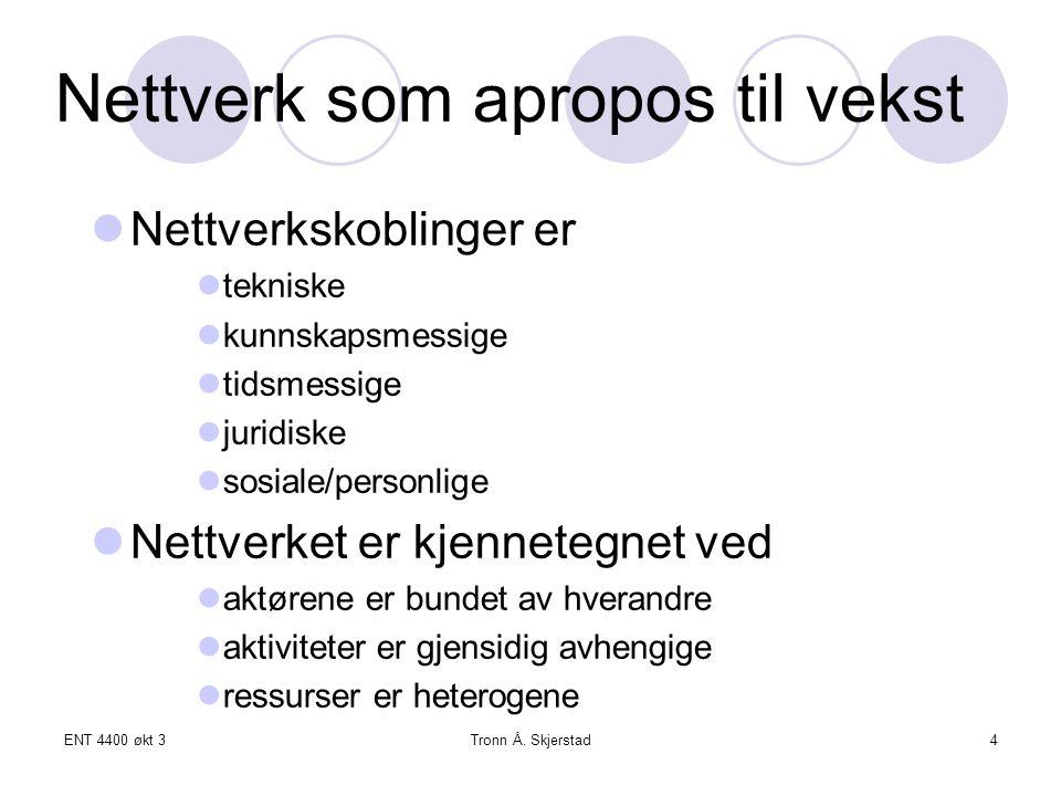 ENT 4400 økt 3Tronn Å. Skjerstad4 Nettverk som apropos til vekst Nettverkskoblinger er tekniske kunnskapsmessige tidsmessige juridiske sosiale/personl