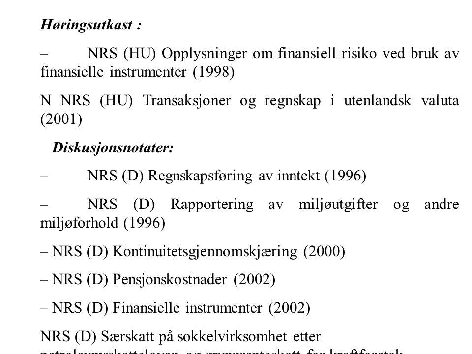 Høringsutkast : –NRS (HU) Opplysninger om finansiell risiko ved bruk av finansielle instrumenter (1998) N NRS (HU) Transaksjoner og regnskap i utenlandsk valuta (2001) Diskusjonsnotater: –NRS (D) Regnskapsføring av inntekt (1996) –NRS (D) Rapportering av miljøutgifter og andre miljøforhold (1996) – NRS (D) Kontinuitetsgjennomskjæring (2000) – NRS (D) Pensjonskostnader (2002) – NRS (D) Finansielle instrumenter (2002) NRS (D) Særskatt på sokkelvirksomhet etter petroleumsskatteloven og grunnrenteskatt for kraftforetak