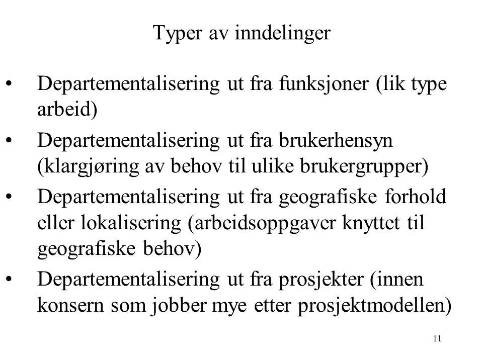 11 Typer av inndelinger Departementalisering ut fra funksjoner (lik type arbeid) Departementalisering ut fra brukerhensyn (klargjøring av behov til ul