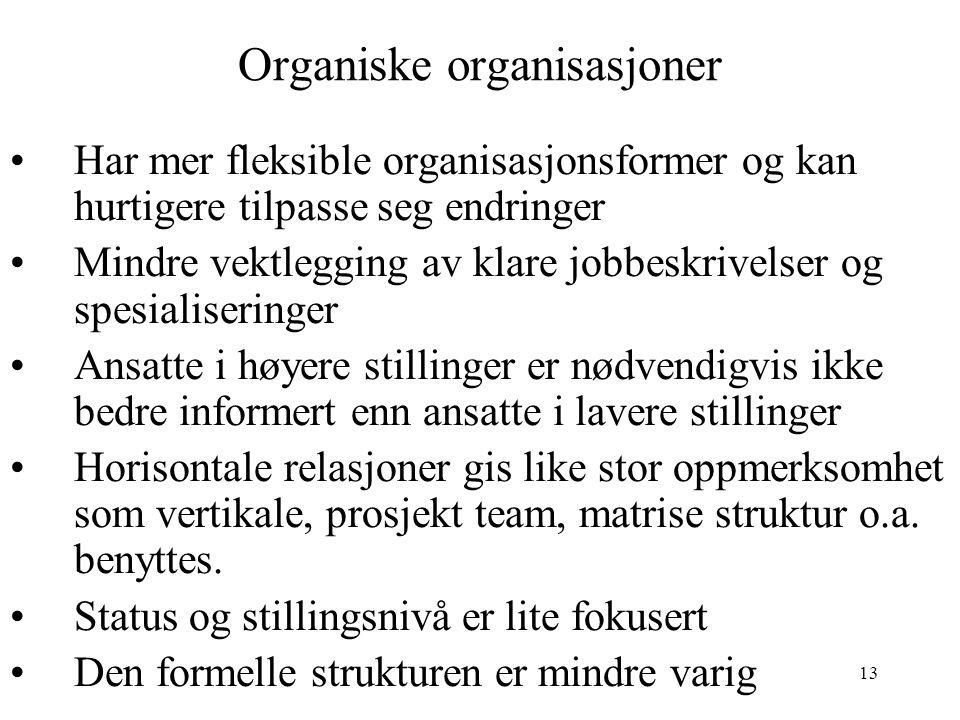 13 Organiske organisasjoner Har mer fleksible organisasjonsformer og kan hurtigere tilpasse seg endringer Mindre vektlegging av klare jobbeskrivelser