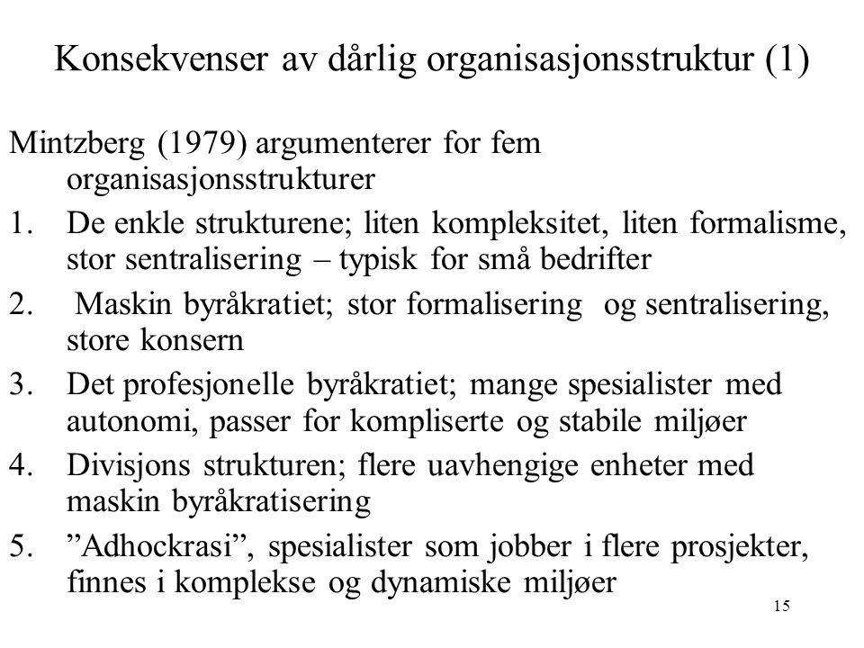 15 Konsekvenser av dårlig organisasjonsstruktur (1) Mintzberg (1979) argumenterer for fem organisasjonsstrukturer 1.De enkle strukturene; liten komple