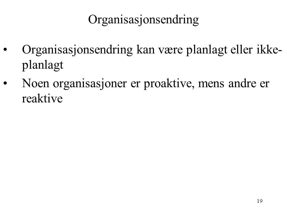 19 Organisasjonsendring Organisasjonsendring kan være planlagt eller ikke- planlagt Noen organisasjoner er proaktive, mens andre er reaktive