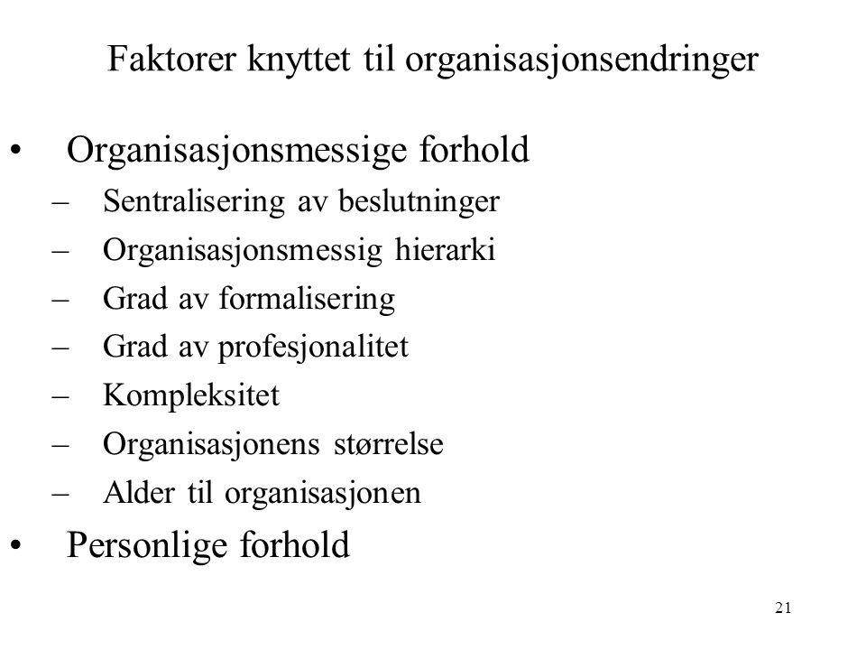 21 Faktorer knyttet til organisasjonsendringer Organisasjonsmessige forhold –Sentralisering av beslutninger –Organisasjonsmessig hierarki –Grad av formalisering –Grad av profesjonalitet –Kompleksitet –Organisasjonens størrelse –Alder til organisasjonen Personlige forhold