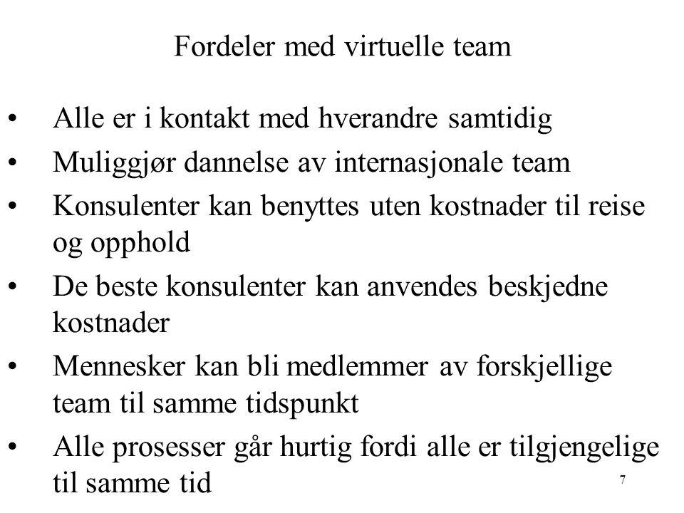 7 Fordeler med virtuelle team Alle er i kontakt med hverandre samtidig Muliggjør dannelse av internasjonale team Konsulenter kan benyttes uten kostnad