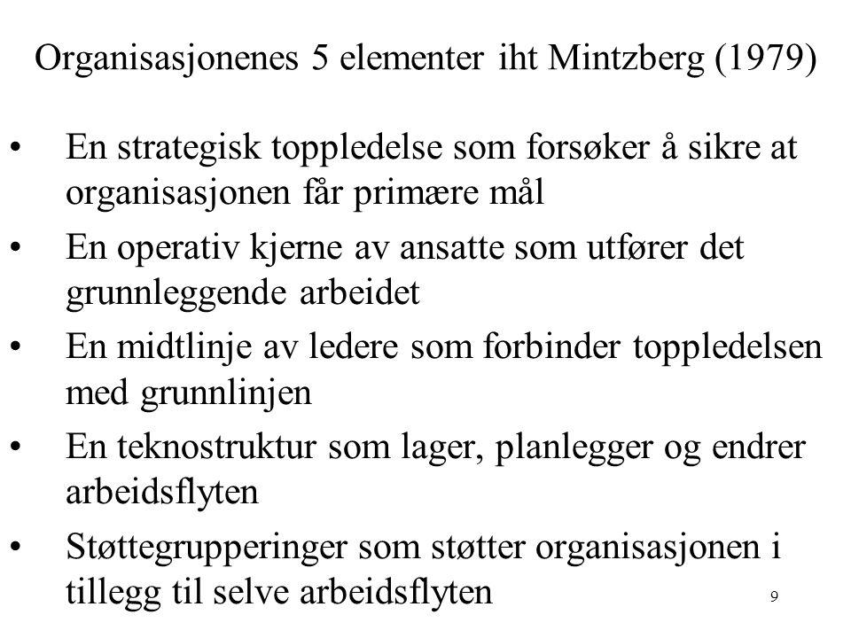 9 Organisasjonenes 5 elementer iht Mintzberg (1979) En strategisk toppledelse som forsøker å sikre at organisasjonen får primære mål En operativ kjerne av ansatte som utfører det grunnleggende arbeidet En midtlinje av ledere som forbinder toppledelsen med grunnlinjen En teknostruktur som lager, planlegger og endrer arbeidsflyten Støttegrupperinger som støtter organisasjonen i tillegg til selve arbeidsflyten