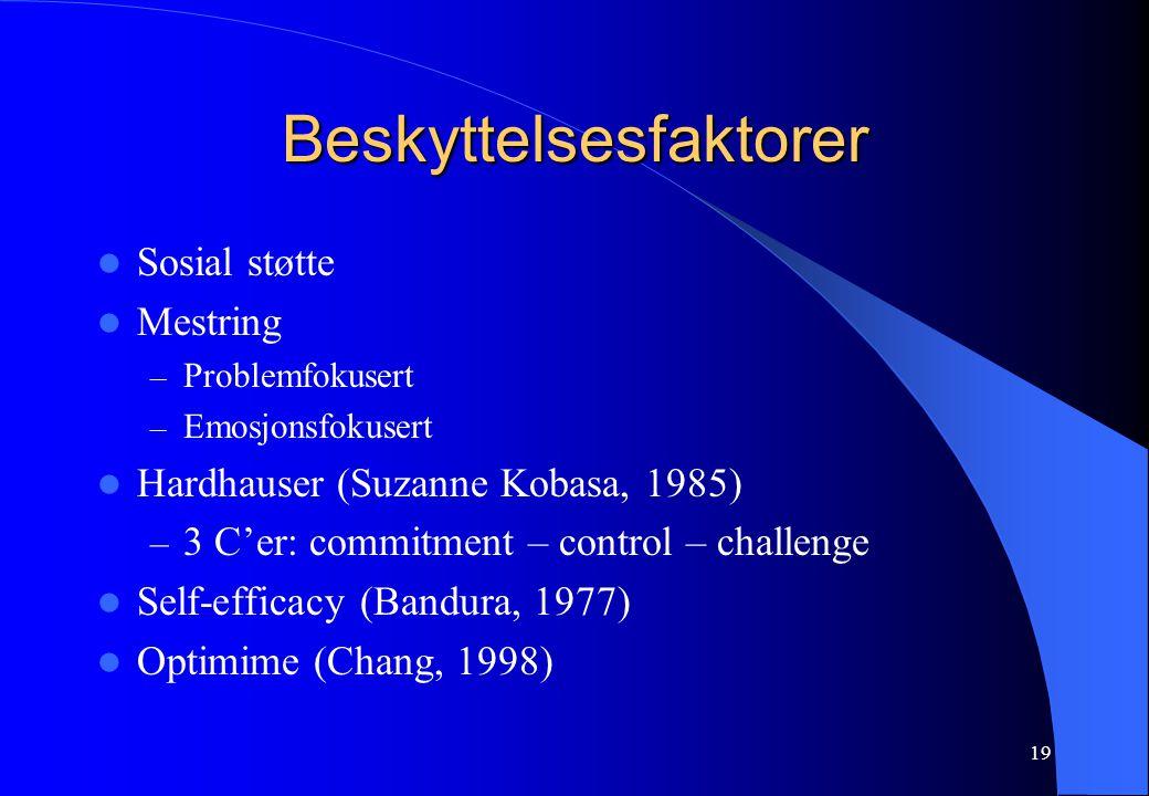 19 Beskyttelsesfaktorer Sosial støtte Mestring – Problemfokusert – Emosjonsfokusert Hardhauser (Suzanne Kobasa, 1985) – 3 C'er: commitment – control – challenge Self-efficacy (Bandura, 1977) Optimime (Chang, 1998)