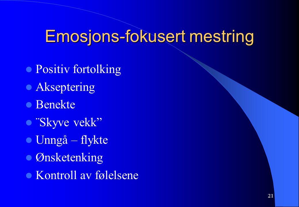 21 Emosjons-fokusert mestring Positiv fortolking Akseptering Benekte ¨Skyve vekk Unngå – flykte Ønsketenking Kontroll av følelsene