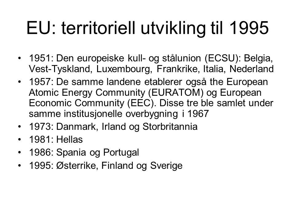 EU: territoriell utvikling til 1995 1951: Den europeiske kull- og stålunion (ECSU): Belgia, Vest-Tyskland, Luxembourg, Frankrike, Italia, Nederland 19