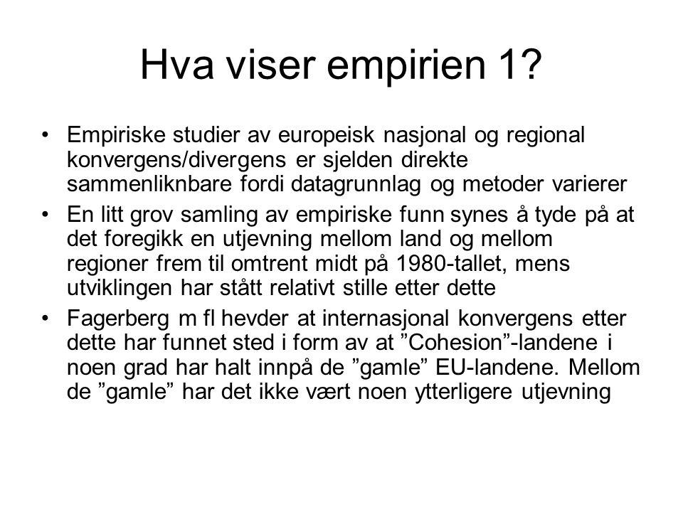 Hva viser empirien 1? Empiriske studier av europeisk nasjonal og regional konvergens/divergens er sjelden direkte sammenliknbare fordi datagrunnlag og