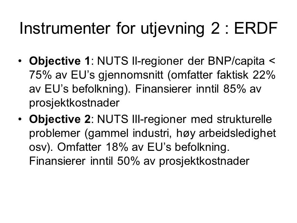 Instrumenter for utjevning 2 : ERDF Objective 1: NUTS II-regioner der BNP/capita < 75% av EU's gjennomsnitt (omfatter faktisk 22% av EU's befolkning).