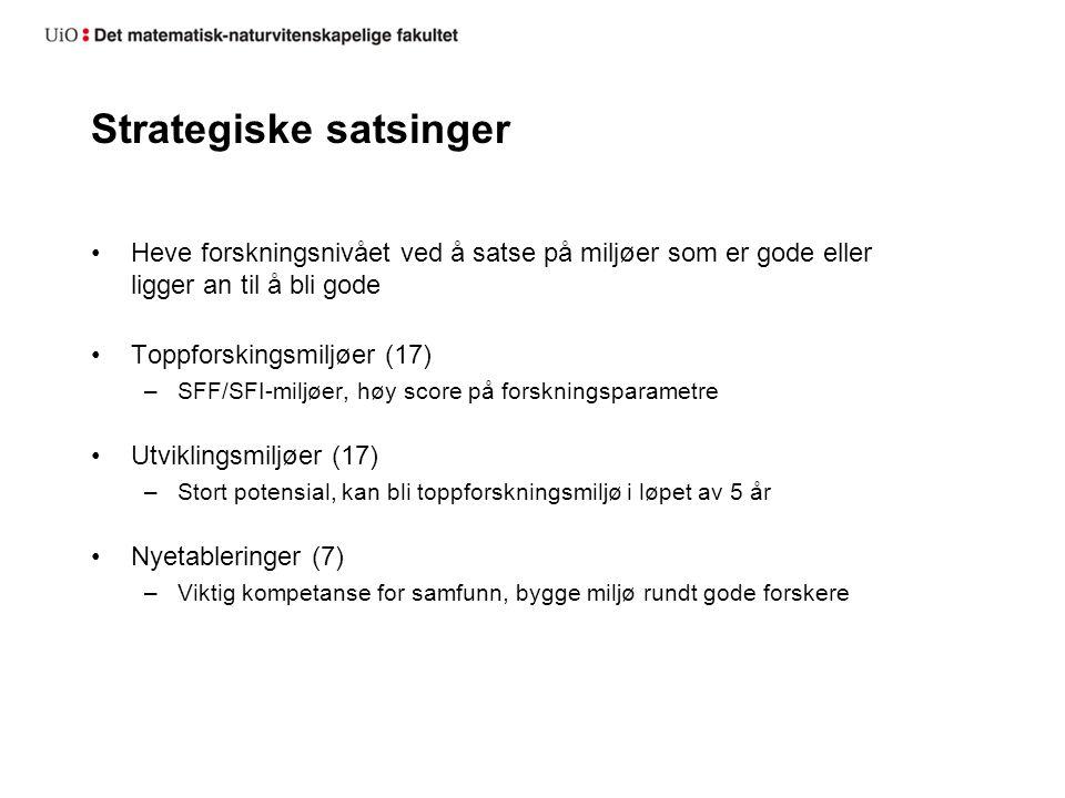 Strategiske satsinger Heve forskningsnivået ved å satse på miljøer som er gode eller ligger an til å bli gode Toppforskingsmiljøer (17) –SFF/SFI-miljø