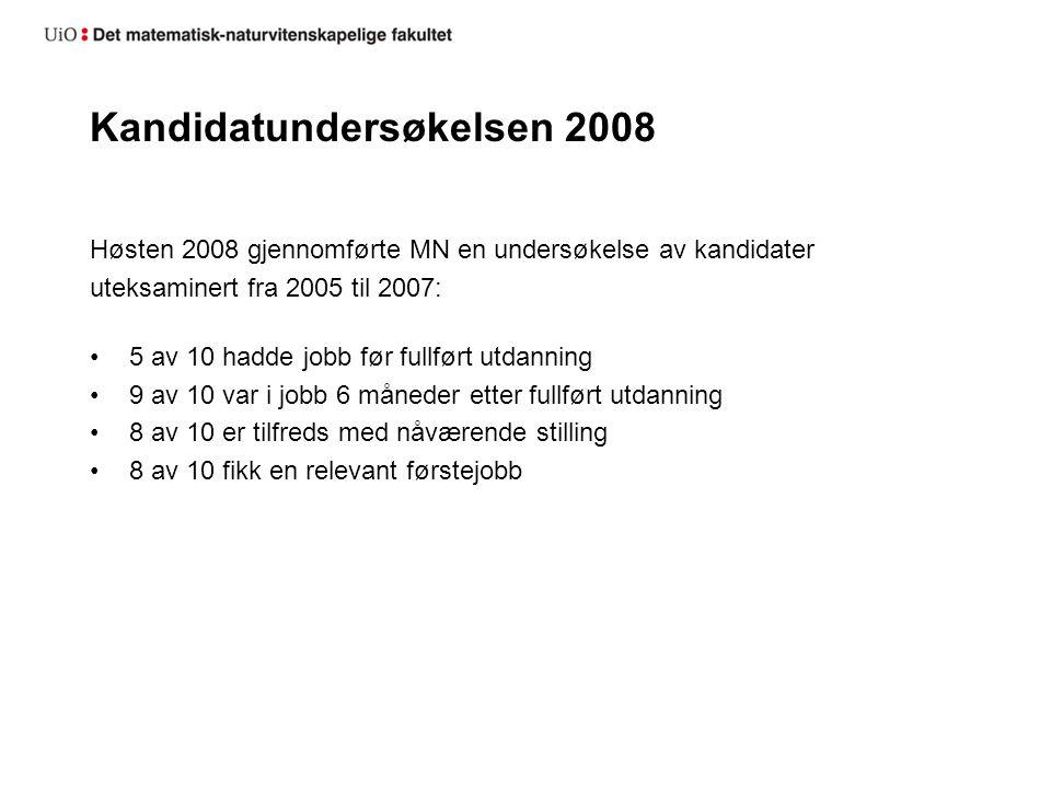 Kandidatundersøkelsen 2008 Høsten 2008 gjennomførte MN en undersøkelse av kandidater uteksaminert fra 2005 til 2007: 5 av 10 hadde jobb før fullført utdanning 9 av 10 var i jobb 6 måneder etter fullført utdanning 8 av 10 er tilfreds med nåværende stilling 8 av 10 fikk en relevant førstejobb