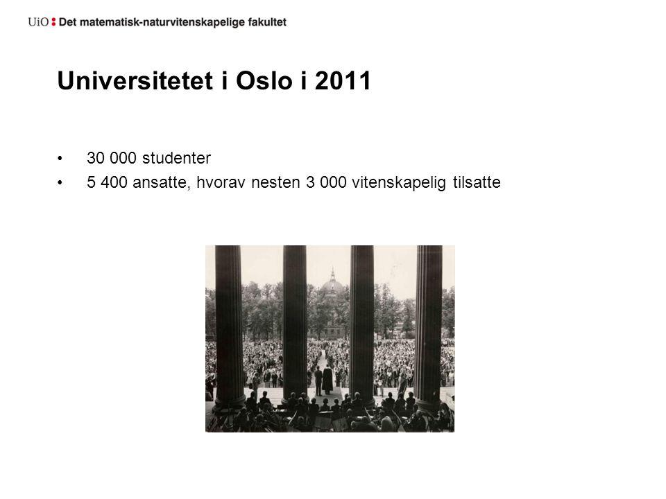 Universitetet i Oslo i 2011 30 000 studenter 5 400 ansatte, hvorav nesten 3 000 vitenskapelig tilsatte