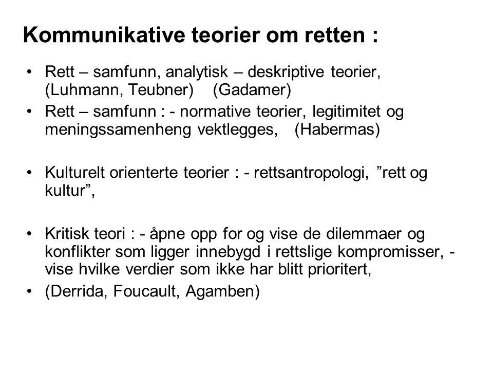 Kommunikative teorier om retten : Rett – samfunn, analytisk – deskriptive teorier, (Luhmann, Teubner) (Gadamer) Rett – samfunn : - normative teorier,