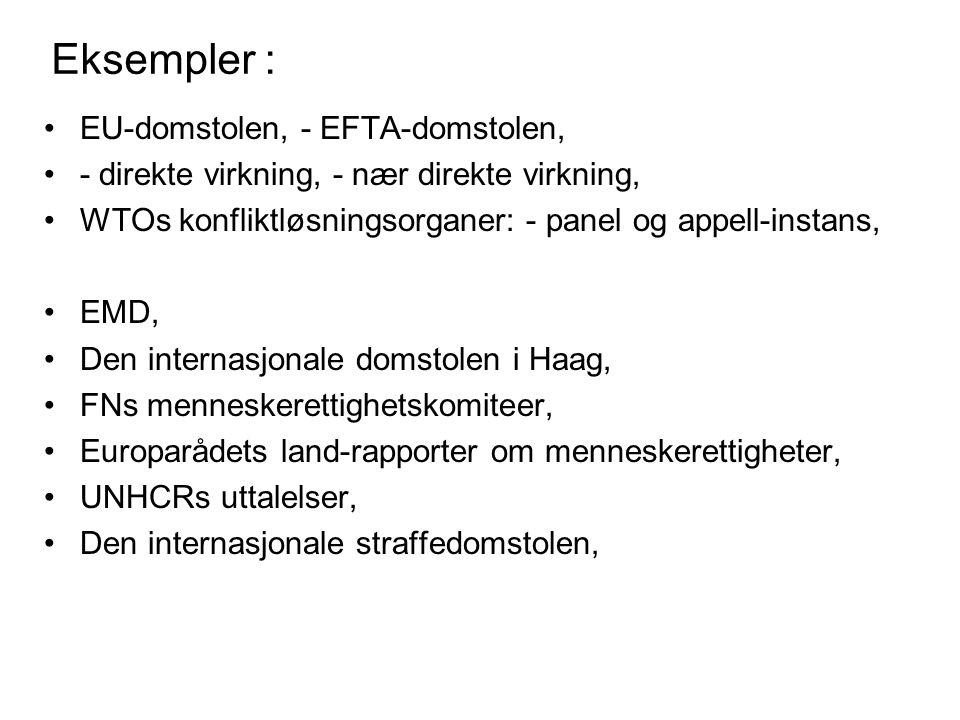 Eksempler : EU-domstolen, - EFTA-domstolen, - direkte virkning, - nær direkte virkning, WTOs konfliktløsningsorganer: - panel og appell-instans, EMD, Den internasjonale domstolen i Haag, FNs menneskerettighetskomiteer, Europarådets land-rapporter om menneskerettigheter, UNHCRs uttalelser, Den internasjonale straffedomstolen,
