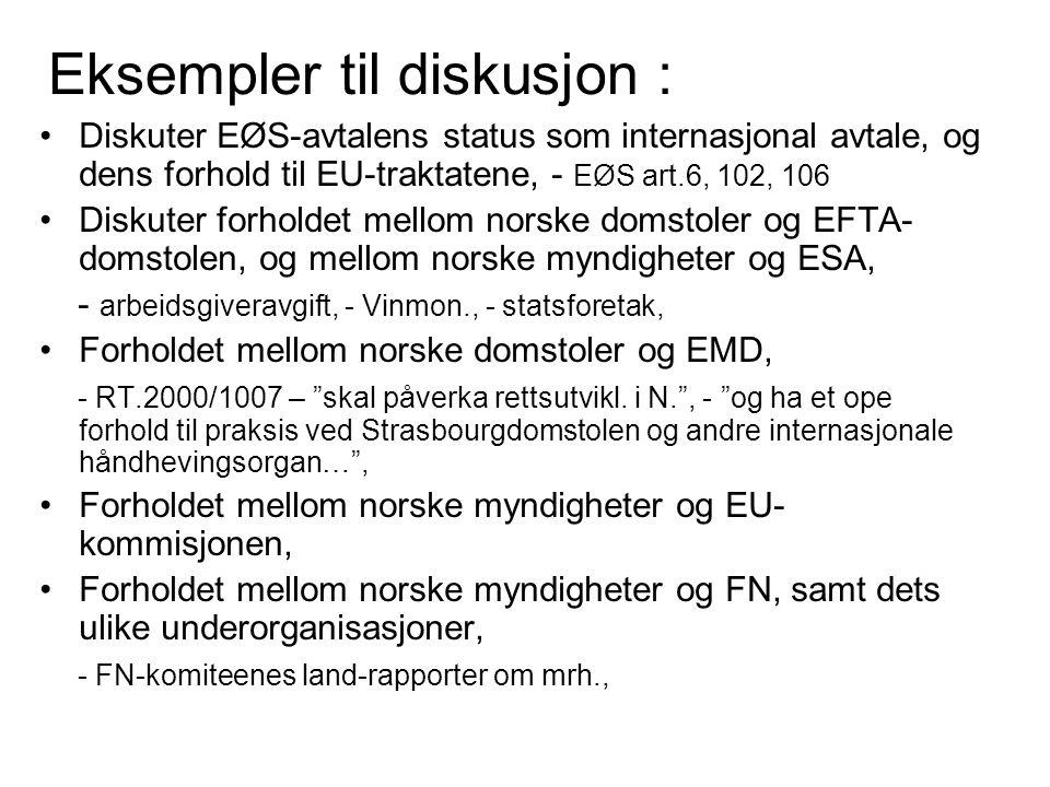 Eksempler til diskusjon : Diskuter EØS-avtalens status som internasjonal avtale, og dens forhold til EU-traktatene, - EØS art.6, 102, 106 Diskuter for
