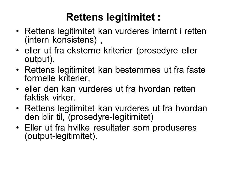 Rettens legitimitet : Rettens legitimitet kan vurderes internt i retten (intern konsistens), eller ut fra eksterne kriterier (prosedyre eller output).