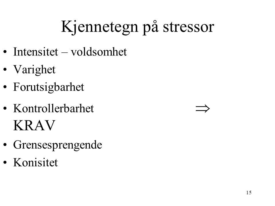 15 Kjennetegn på stressor Intensitet – voldsomhet Varighet Forutsigbarhet Kontrollerbarhet  KRAV Grensesprengende Konisitet