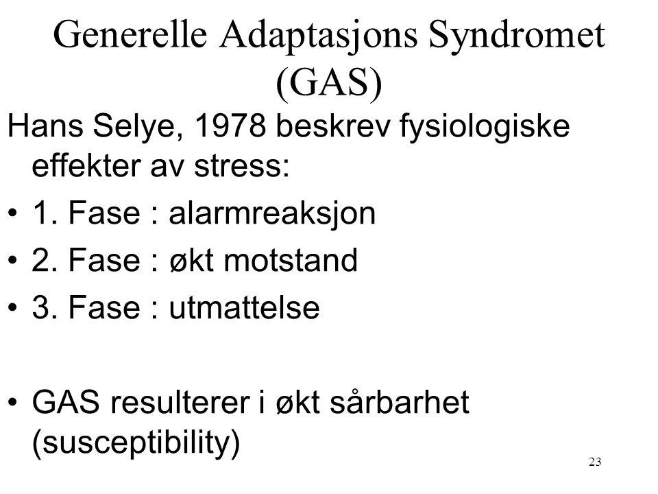 23 Generelle Adaptasjons Syndromet (GAS) Hans Selye, 1978 beskrev fysiologiske effekter av stress: 1. Fase : alarmreaksjon 2. Fase : økt motstand 3. F