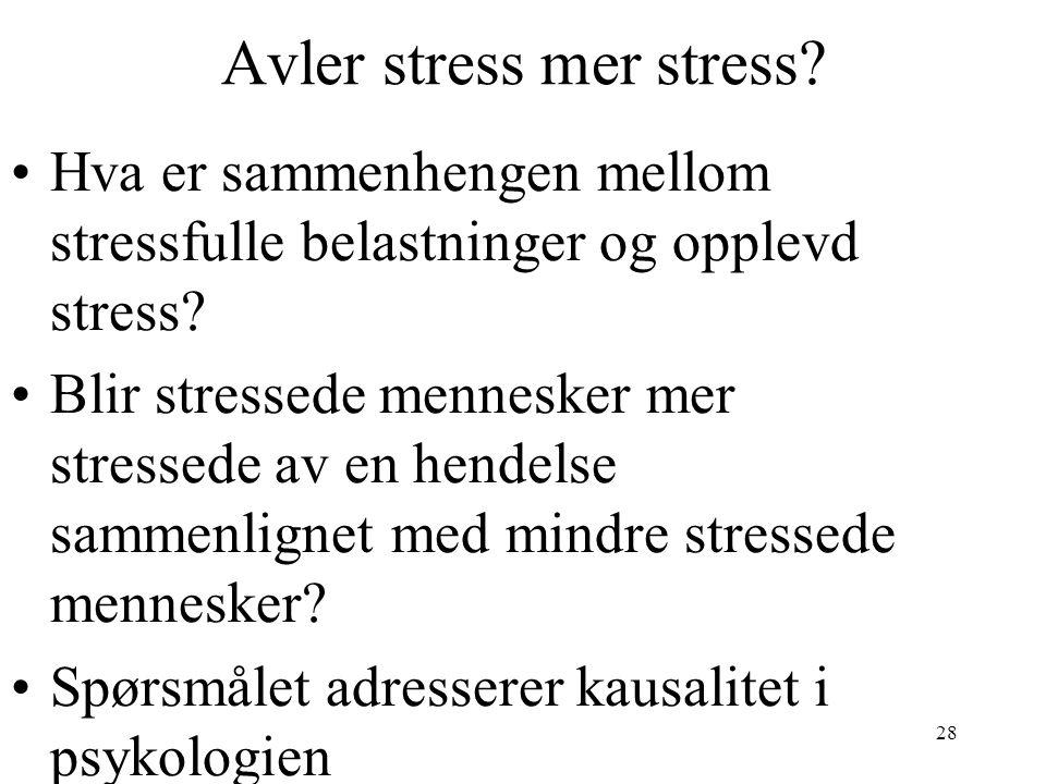 28 Avler stress mer stress? Hva er sammenhengen mellom stressfulle belastninger og opplevd stress? Blir stressede mennesker mer stressede av en hendel