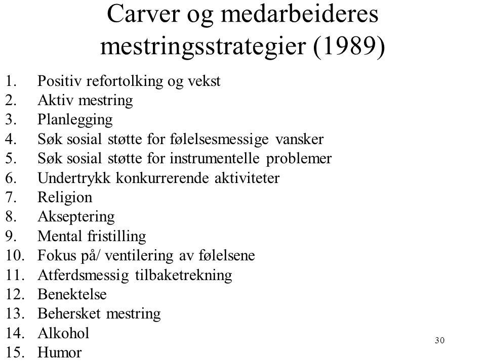 30 Carver og medarbeideres mestringsstrategier (1989) 1.Positiv refortolking og vekst 2.Aktiv mestring 3.Planlegging 4.Søk sosial støtte for følelsesm
